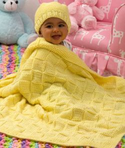 Baby Blocks Blanket and Hat Set