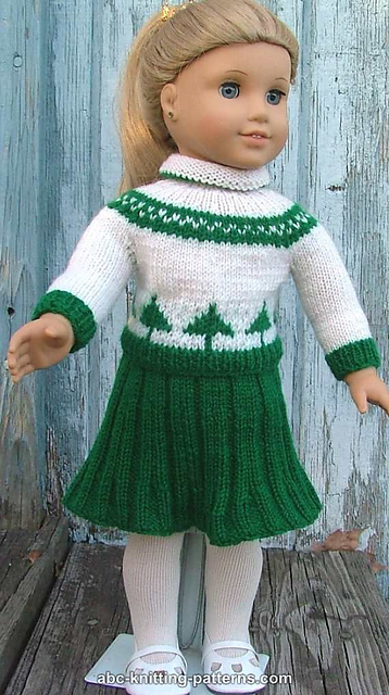 Knitting Patterns Galore American Girl Doll Pleated Skirt