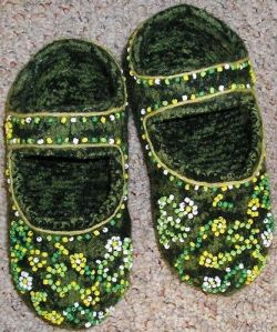 Beaded Felted Mary Jane Slippers