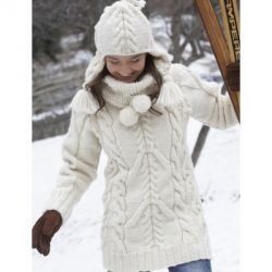 Big Aran Sweater and Earflap Hat