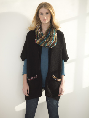 Knitting Patterns Galore - Easy Rectangle Cardigan And Cowl
