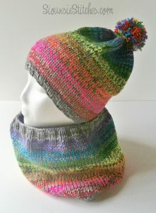 Rainbow Scramble Hat and Cowl Set