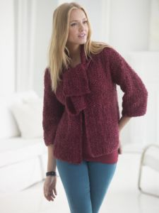 Seed Stitch Cardi With Scarf