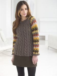 Striped And Cabled Pullover
