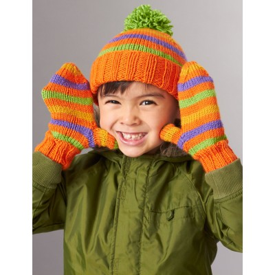 Knitting Patterns Galore Striped Basic Hat And Mittens 4 Needles