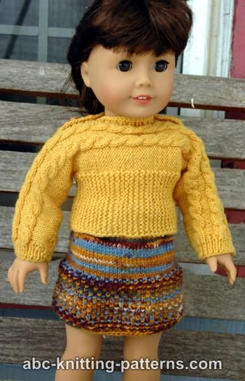 Knitting Patterns Galore American Girl Doll Cuff To Cuff Cable Sweater
