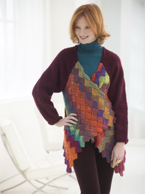 Knitting Patterns Galore - Eclectic Entrelac Cardigan