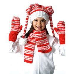 Striped Hat, Mittens and Scarf