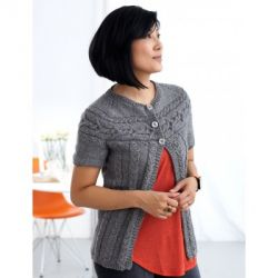 Cardigan with Cabled Yoke