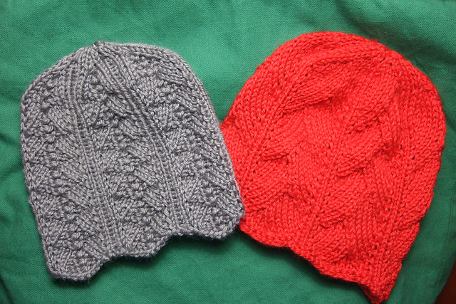 Knitting Patterns Galore - Two Feminine Chemo Caps for Straight Needles