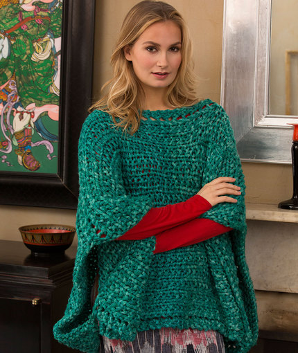 Knitting Patterns Galore Boat Neck Poncho