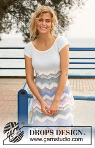 DROPS dress with stripes and round yoke