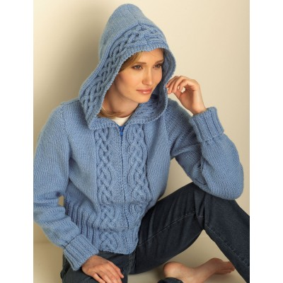 Knitting Patterns Galore Cozy Cable Hooded Cardigan