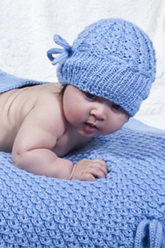 Knitting Patterns Galore - Cherub Aran Mock Eyelet Baby Hat
