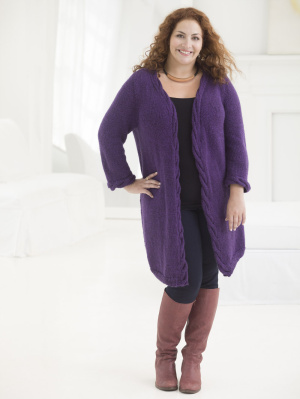 Knitting Patterns For Plus Size Sweaters : Knitting Patterns Galore - Curvy Girl Cabled Cardigan