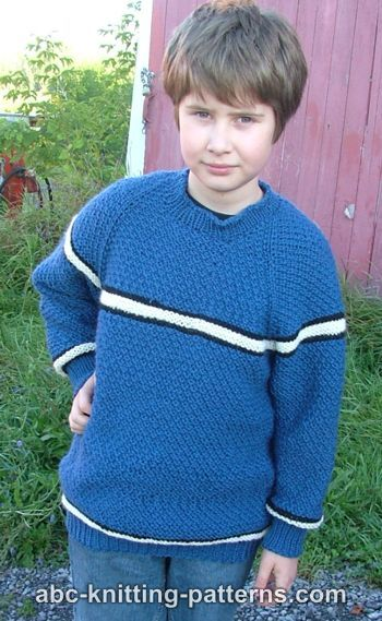 Knitting Patterns Galore - Boys Top-Down Raglan Sweater with Stripes