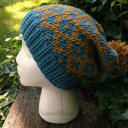 Knitting Patterns Galore - Diamond Slouch Hat