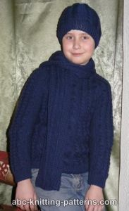 Cable Raglan Sweater for a Boy